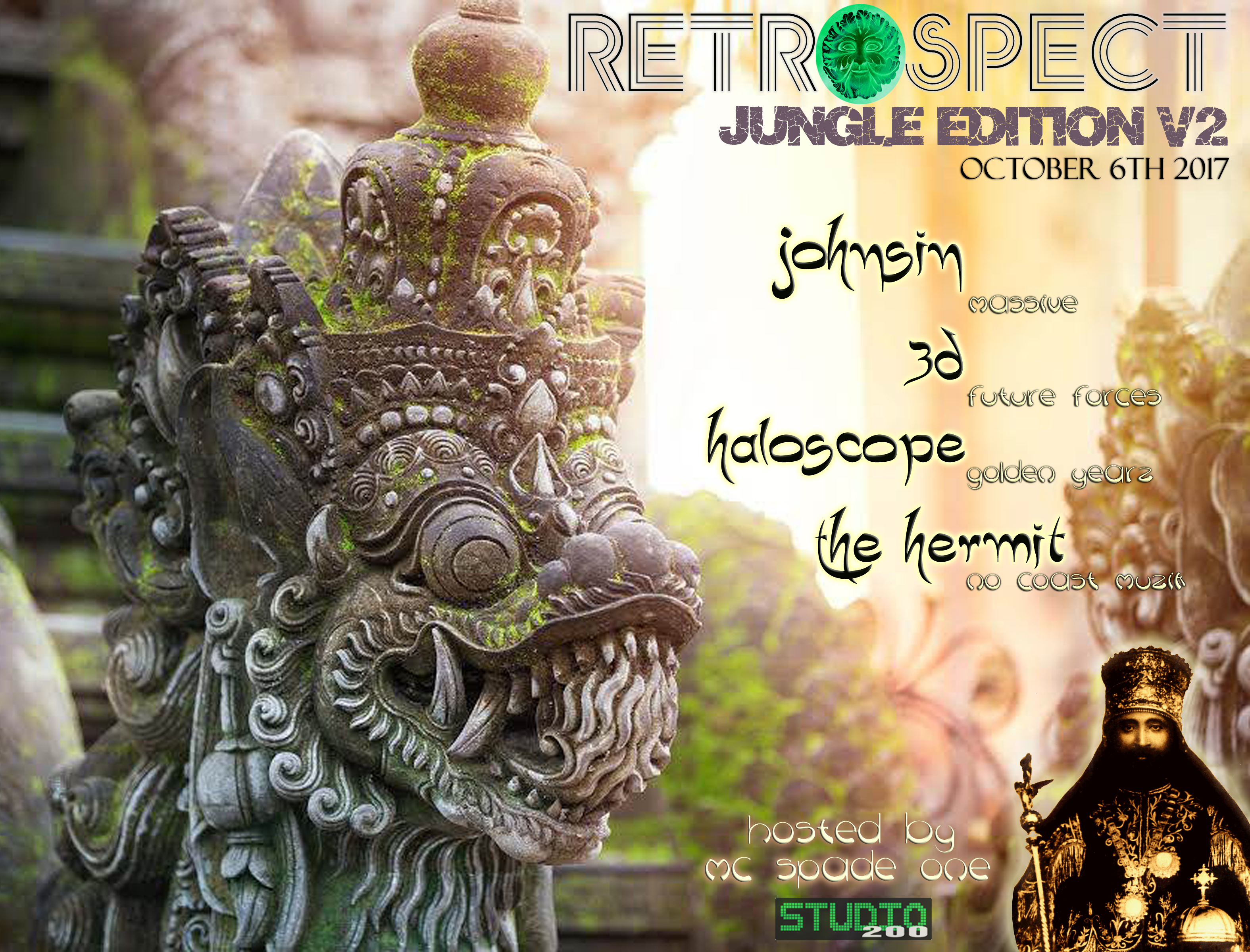 Live recording of The Hermit's & mc Spade One's set for Retrospect Jungle  Edition v2 at Studio 200 in Milwaukee, Wisconsin on 10-6-2017.